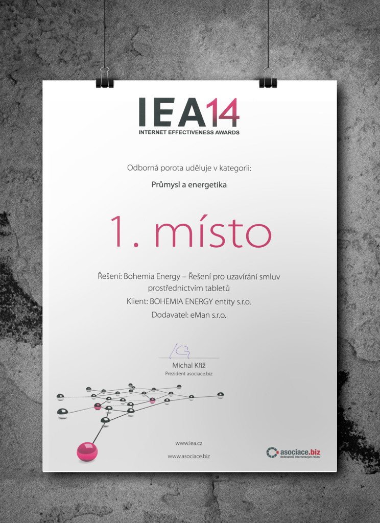 IEA 2014 - 1. místo Bohemia Energy diplom