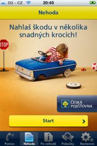 Úvodní obrazovka sekce Nehoda.