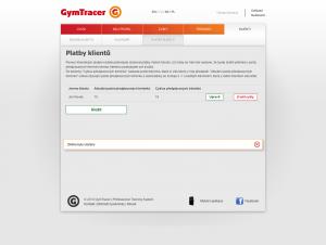 Platby klientů   GymTracer
