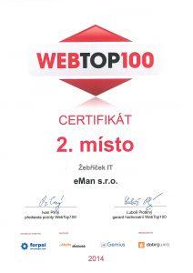 Web eman.cz získal 2. místo v soutěži WebTop100 2014 v kategorii IT firem