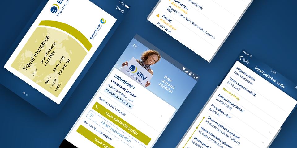 Mobilní aplikace Moje Evropská - cestovní pojištění