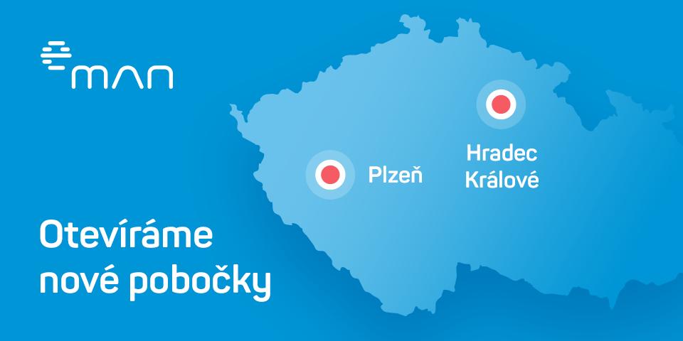 eMan pobočky Hradec Králové a Plzeň